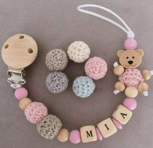 Hochwertige Schnullerkette mit Namen ♥ Jung & Mädchen ♥ 2 Häkelperle Teddy Rosa & Natur Holz