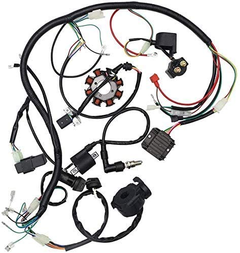 Pnndee Complete Wiring Harness kit Wire Loom Electrics Stator Coil CDI for ATV Quad 4 Four Wheelers 150CC 200CC 250CC Go Kart Dirt Pit Bikes