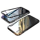 iPhone XS ケース iphonex カバー アルミ バンパー 表面と背面ガラス付 アイフォン X/XS 透明 強化ガラス バックプレートマグネット式 磁力で接続 QI ワイヤレス 充電対応 軽量 薄型 スマホケース 擦り傷防止 耐衝撃保護(iphone X/XS,ブラック)
