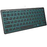 Bluetooth Keyboard for iPad, OMOTON Wireless Keyboard (7-Color Backlit & Rechargeable & Portable) for iPad/iPad Air/iPad Pro/iPad Mini, Black