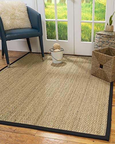 NaturalAreaRugs Four Seasons Area Rug Natural Seagrass Hand-Crafted Sage Wide Canvas Border, 5' x 8'