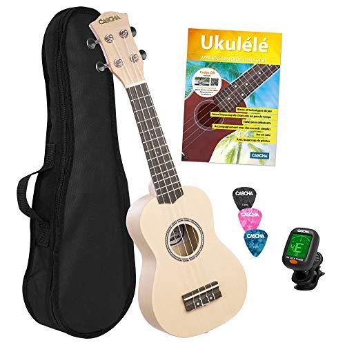 CASCHA Set de ukelele soprano francés para niños y adultos, kit de iniciación con 3 púas, funda, libro de aprendizaje sobre código QR, afinador, cuerdas Aquila y guitarra hawaiana pequeña, color crema