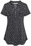 Ninedaily Polka Dot Blouse for Women,Flattering Lightweight Tunics for Legging/Jeans/Shorts Plaid Shirts Checkered Juniors Ladies Big Girls Semi Loose Fitting Linen Tops Peplum Summer 8 10