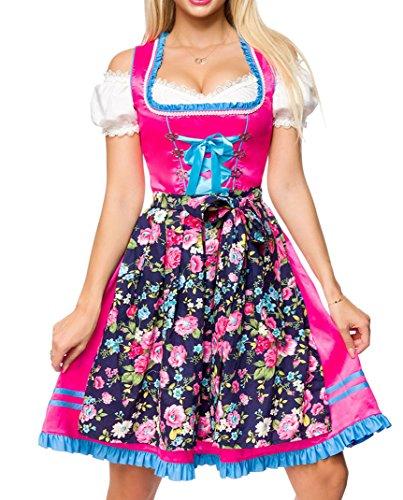 Dirndl Kleid Kostüm mit Herzausschnitt Schleife Schnürung und Schürze aus Blumenmuster Stoff und Spitze Oktoberfest Dirndl pink/blau/weiß M