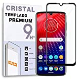 REY Protector de Pantalla Curvo para Motorola Moto Z4 - Motorola One Zoom, Negro, Cristal Vidrio Templado Premium, 3D / 4D / 5D