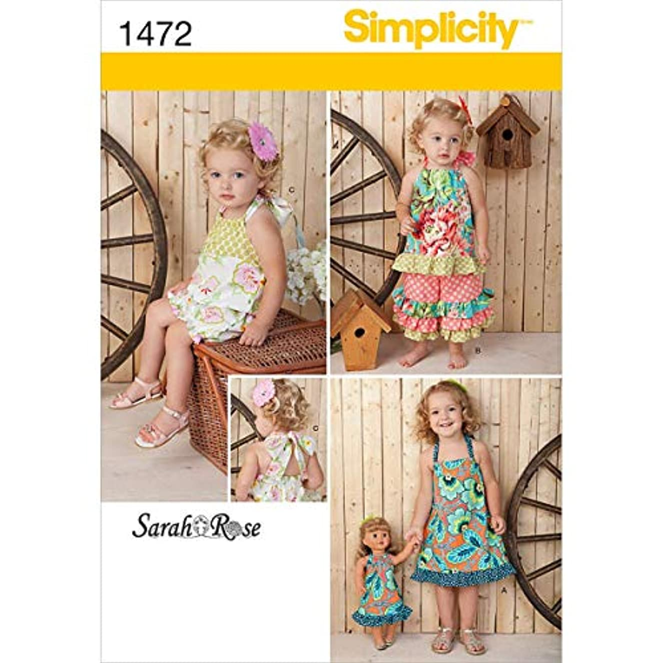 Simplicity 1472 18'' Doll and Toddler's Matching Romper, Dress, Top, and Pants Sewing Pattern, Sizes 1/2-4
