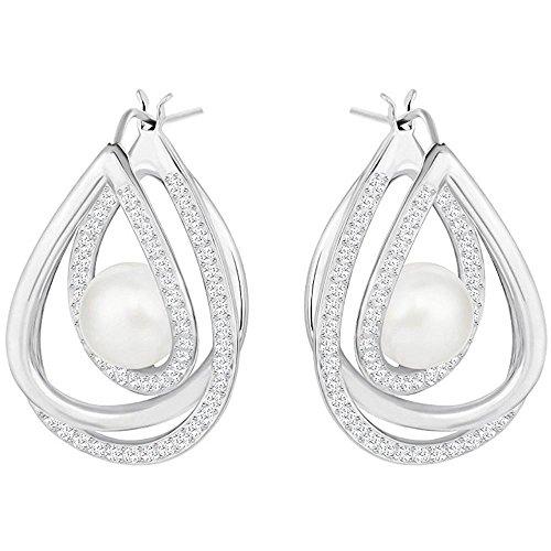 Swarovski Damen-Ohrstecker rhodiniert Kristall weiß Perle 2.5 cm - 5217718
