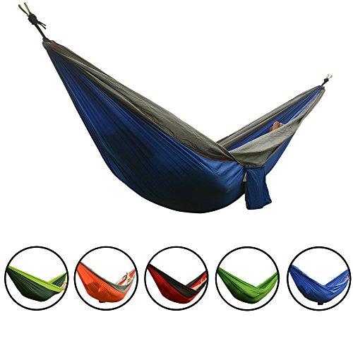 Smarcy - Hamaca portable para camping o jardín, material de nailon, 270 x 140 cm para dos personas (Azul / Gris)