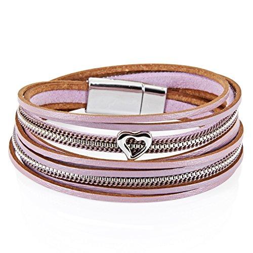 StarAppeal Armband Wickelarmband in Leder mit Herz, Kette und Magnetverschluss Silber, Damen Armband (Flieder-Grau)