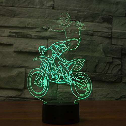 JYHW 3D LED Cross Country motorfiets modelbouw tafellamp USB nachtlampje 7 kleuren wisselende verlichting kamer decoratie reis cadeau