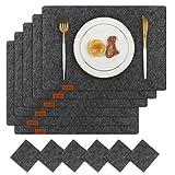 Famibay Filz Tischsets und Untersetzer Abwaschbar Platzsets 6er Set Tischuntersetzer Platzdeckchen Dunkelgrau Filzuntersetzer Filzmatte (Tiefgrau)