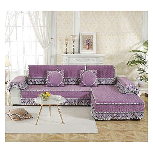 MISSMAO_FASHION2019 Baumwolle Für Haustiere Couch Sofa Überwürfe, Anti-rutsch Übergroßen Spitze Couch Sofa Überwürfe Couch-Shield Sofaschoner Lila 70x70cm