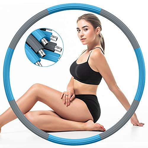 DUTISON Fitness Erwachsene Hoop Reifen, Gewichtet Rostfreier Stahl Übungsreifen Hoop zur Gewichtsabnahme mit Schaumstoff Gewichten Einstellbar von 1,2 bis 3,2 kg (Grau Blau)