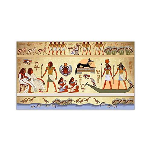 Canvas, Egyptische hiëroglief muurschildering, Art Prints schilderij Kunstwerk Poster Foto Modern Wall decor Woondecoratie 40x85cm (16x34in) kader