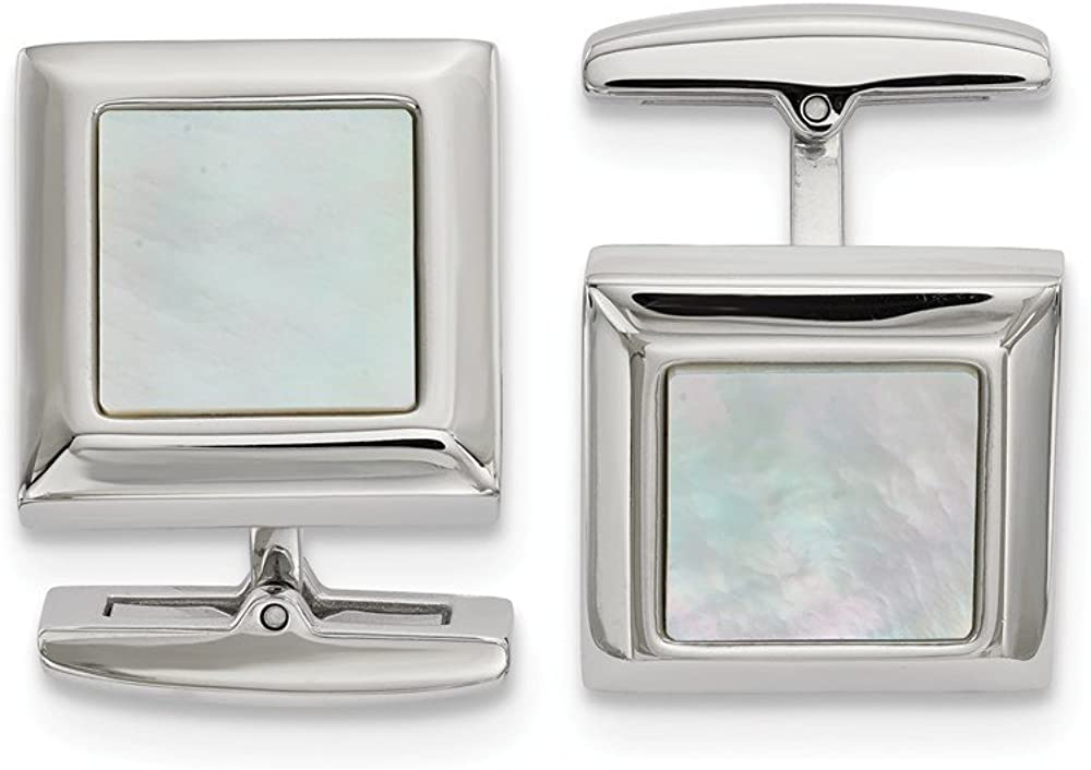 Solid Stainless Steel Men's Mother of Pearl Square Cufflinks - 20mm x 17mm