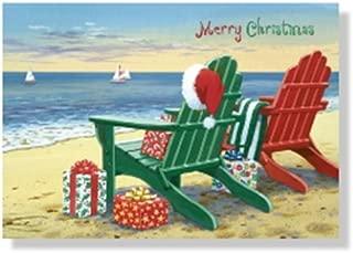 Designer Greetings Red Farm Studio - Boxed Christmas Cards Nautical/Coastal Design; Festive Adirondack Chairs on Beach