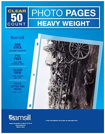 Samsill 50 Pack Full Page 8 5 x 11 Photo Storage Fits in Standard 3 Ring Photo Album Binder product image