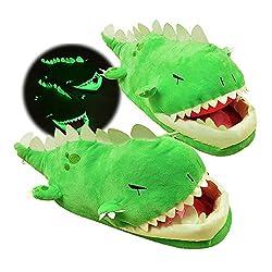 4. HDYD Lazi Dino Glow in the Dark Dinosaur Slippers