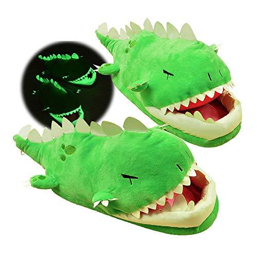 Lazi Dino Glow in Dark Slipper Animal Paw Dinosaur Chomping Costume Shoes (large)
