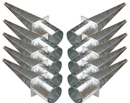 10 Stück 120 mm Rundpfosten-träger Einschlag-hülse Bodenhülse Holz-pfosten Holzzaun Lamellenzau