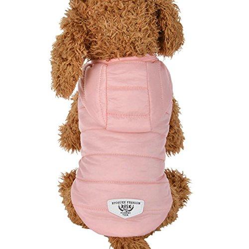 RETUROM Ropa para Mascotas Abrigo Grueso Invierno Acolchado Caliente Chaleco Ropa para Mascotas (Rosa, XL)