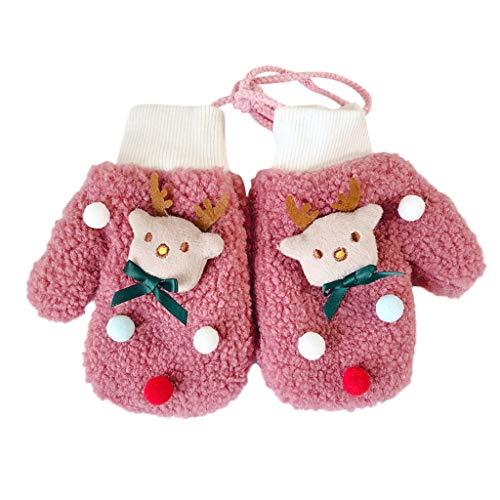 LEXUPE Kleinkind-Baby verdicken Weihnachtskarikatur-vollen Finger-warme gestrickte Handschuh-Handschuhe(Pink,Free Size)