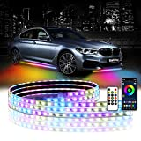 DING.PAI 4PCS Car LED Underglow Lights Underbody Neon Accent Light Kit Exterior Strip Dream Lights Chasing Color Bluetooth App and Remote Control for SUV Trucks Boats Waterproof Accessories
