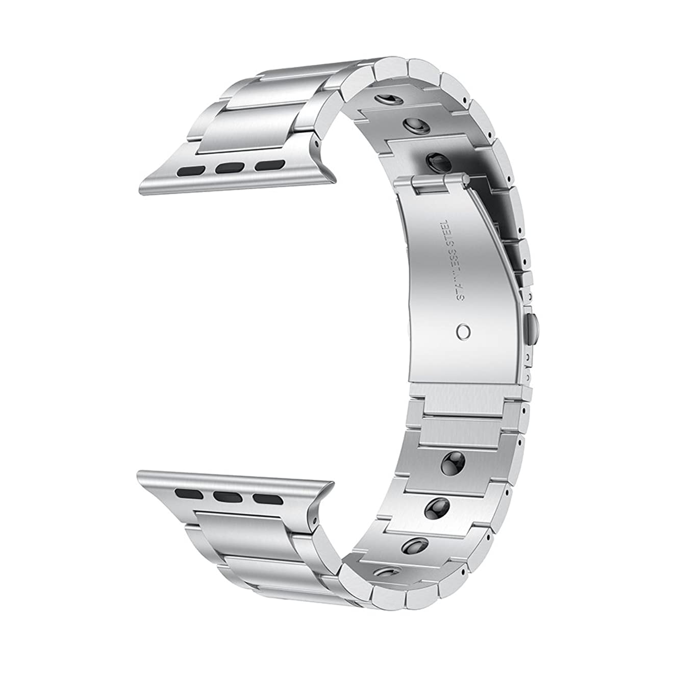LDFAS Compatible for Apple Watch Band 44mm/42mm, Magnetic Therapy Stainless Steel Metal Link Bracelet Bands Compatible for Apple Watch Series 4/3/2/1, Silver