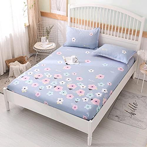 DSman Protector de colchón de Rizo algodón y Transpirable Sábana de algodón Floral transpirable-13_200x220cm