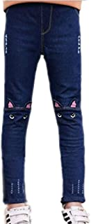 Colorful Childhood Baby Girls Jeans Kids Denim Cartoon Cat Pants