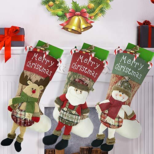 3pcs Calza di Natale Sacchetto regalo di Natale , Babbo Natale, pupazzo di neve Renna carattere 3D Peluche con polsino in pelliccia sintetica Decorazioni natalizie e accessori per feste 49cm*29cm