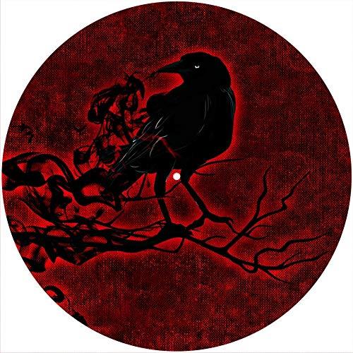 Slipmat Rutschmatte/Kratzmatte aus Filz für jeden 30,5 cm LP DJ-Plattenspieler aus Vinyl, raven auf rot