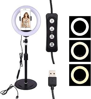 QYWSJ 7.9Anillo de Luz Led Regulable con Soporte y Soporte para Teléfono para Video de Youtube y Selfie/Maquillaje Mini Flash de Cámara Fotografía Transmisión en Vivo Belleza