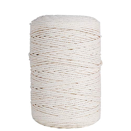 HUTHIM Spago Bianco 3mm x 260m, 100% Cotton Naturale Twine Macrame Corda, Filo Cotone per Fai da Te Macramè Acchiappasogni Arazzo Tende Wall Hanging Vaso, Beige