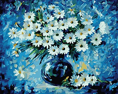 Paint by Numbers for Adults, DIY Canvas Oil Painting Kit for Beginner Adults' Paint-by-Number Kit with Paintbrushes Wall Decoration Color by Numbers for Adult Kids Teens, Flower 16x20inch