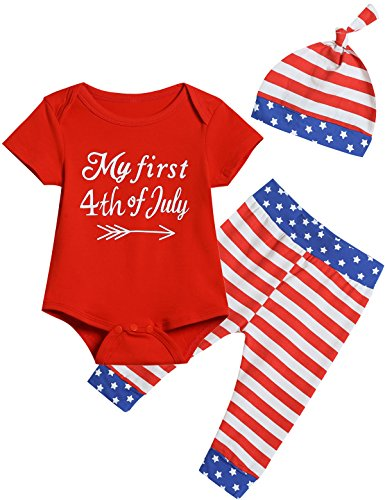 Truly One 3PCS Baby Boys Girls My First USA Flag Outfit Set Short Sleeve Romper (3-6 Months)