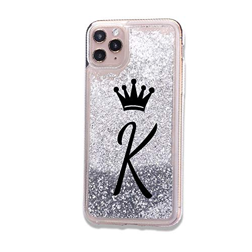 iPhone 11 Pro Max Initials A to Z Alphabet Letter K Crown Queen Case Sparkle Bling Glitter Shining Liquid Quicksand Cover Women Girls Soft TPU Silicone Phone Bumper (Silver) (iPhone 11 Pro max, K)