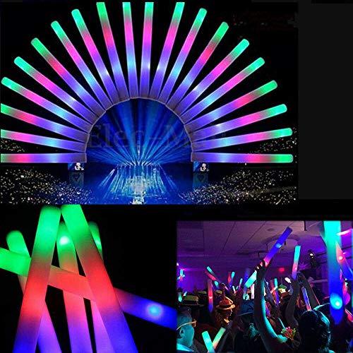 LED Schaumstoff Leuchtstab mit Blinkenden Lichtern,Bunte Flashing Glow Foam Sticks,Bunt leuchtende Schaum Taktstöcke Cheering Bang Tube für Parteien Festival Konzerte Raves Hochzeiten,100PCS
