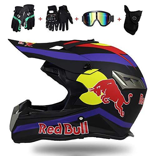 Fullface Helm,Motorradhelm Fahrradhelm ABS DOT-Zertifizierung Vier Mehrere EntlüFtungsöFfnungenVierJahreszeitenHelmHerausnehmbares Futter Kostenloses vierteiliges Set Red Bull