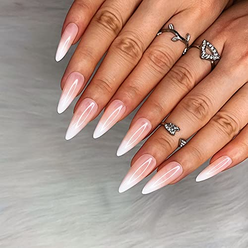 Morily 24pcs Fake Nails White Pink French Ombre Medium Long Stiletto Almond Press on Nail False Tips Artificial Finger Manicure for Women and Girls (French Ombre)