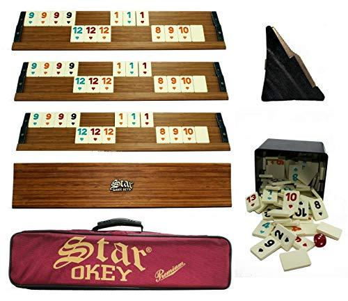 Premium Okey Takimi mit Tragetasche und Melamin Spielsteine mit Kunststoffbox Ahsap schwer und stabil Takımı Rummy Set (Hellbraun)