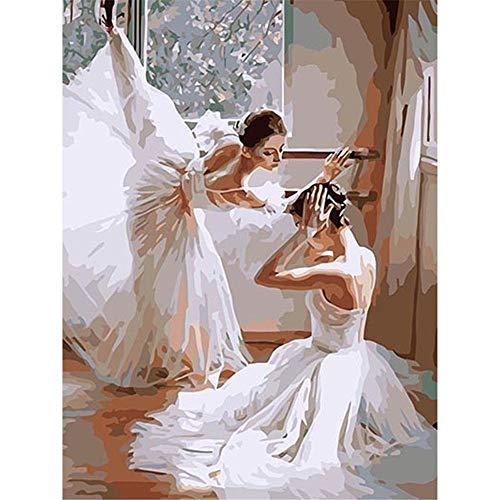 JHDGL Pintar por Numeros Adultos Bailarina de Ballet DIY Pintura de Lona 40x50cm para Niños con Pinturas Acrílicas y 3 Pinceles(Sin Marco)