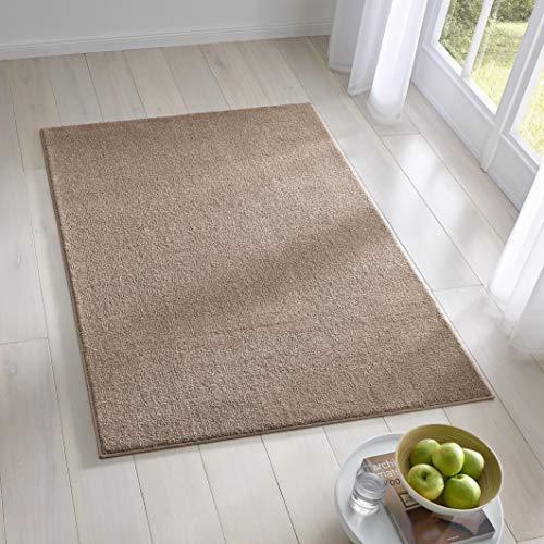 Teppich Wölkchen Kurzflor Teppich I Flauschige Flachflor Teppiche fürs Wohnzimmer, Esszimmer, Schlafzimmer oder Kinderzimmer I Einfarbig I Beige - 120 x 170