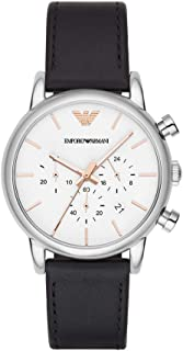 Emporio Armani Men's Stainless Steel Analog-Quartz Watch with Leather Strap, Black, 20 (Model: AR2075