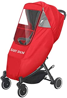 Stroller Rain Cover Baby Stroller Weather Shield, Universal Size to fit Most Stroller Raincoat, EVA Clear Zip Front Opening, Full Protection Easy to Install for Outdoor Use