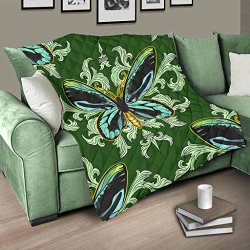 AXGM Quilt Bedspread Butterfly Mandala Green Quilt Blanket Cuddly Blanket Print Travel Blanket White 230 x 280 cm