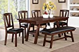 Poundex Dark Walnut Table & Chairs/Bench Dining Set, Brown