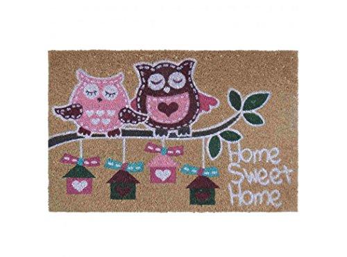 """Zerbino """"pink owl"""" in fibra di cocco 60 x 40 cm 15 mm...."""