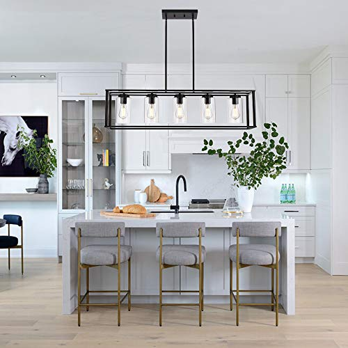 VINLUZ Farmhouse Chandeliers Rectangle Black 5 Light Dining Room Lighting Fixtures Hanging, Kitchen Island Cage Pendant Lights Contemporary Modern Ceiling Light with Glass Shade Adjustable Rods