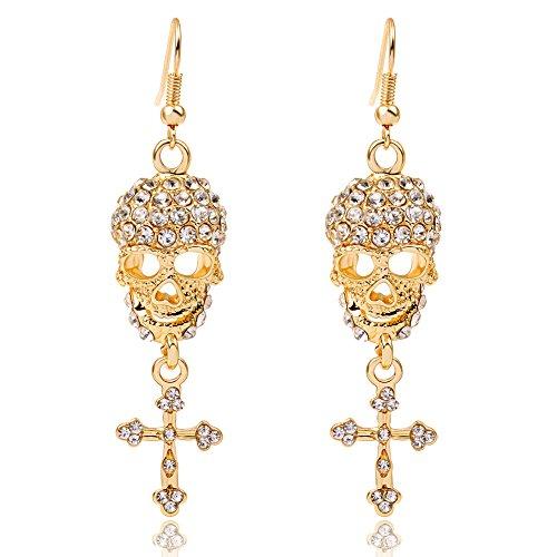 Gold Earrings Cool Gothic Punk Style Skull Cross Shaped With Diamond Long Dangle Earrings for Women